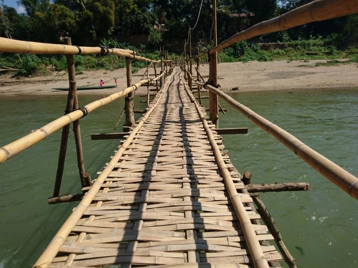 Bamboo bridge over the Nam Khan river in Luang Prabang