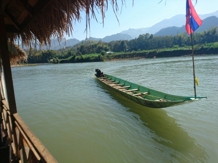 Boat on the Nam Khan river in Laos