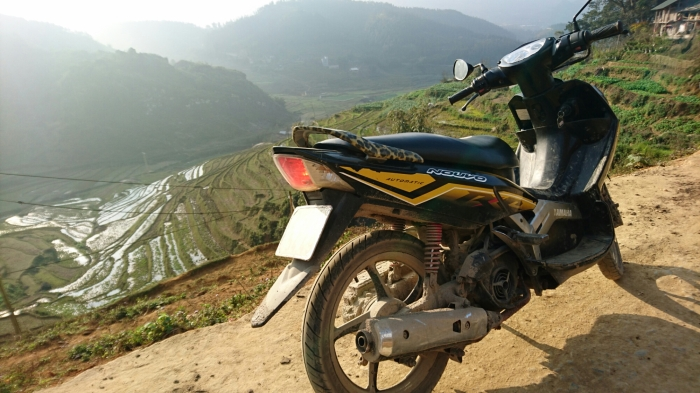 Motorbike among the rice terraces in the northern Vietnam mountains around Sapa
