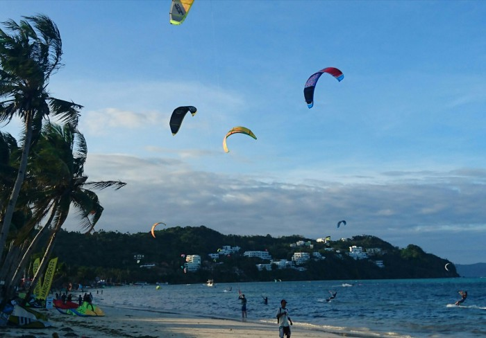 Kiteboarders on Bulabog beach, Boracay, Philippines
