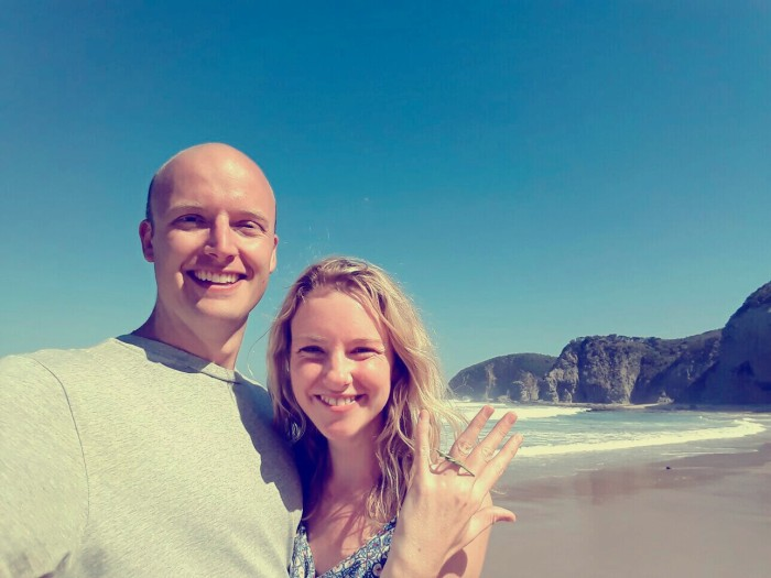 Couple engaged on Great Ocean Road
