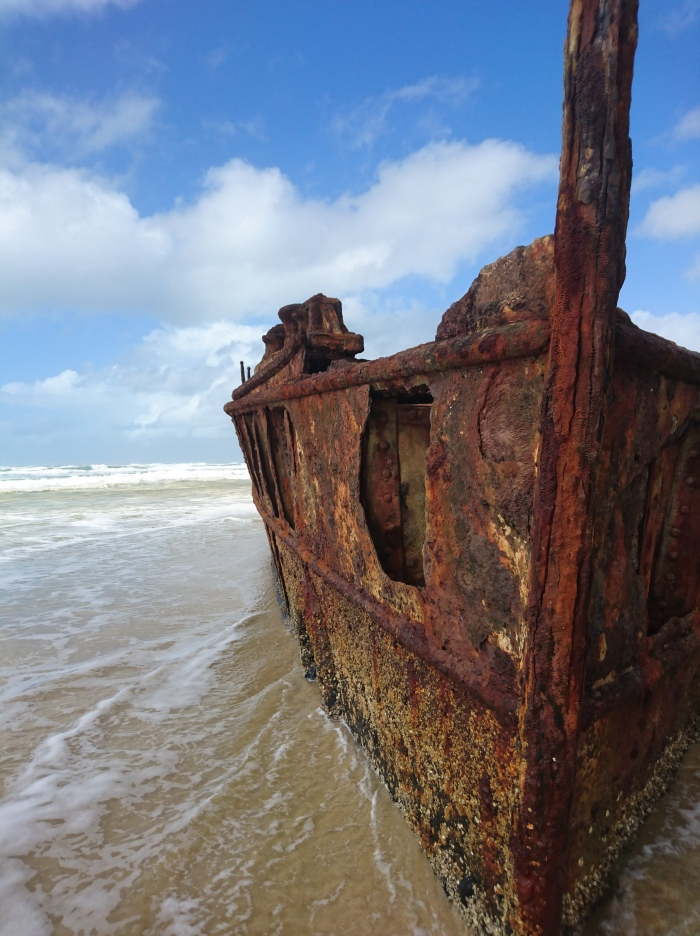 Moheno shipwreck on the Seventy-Five Mile Beach, Fraser Island, Australia