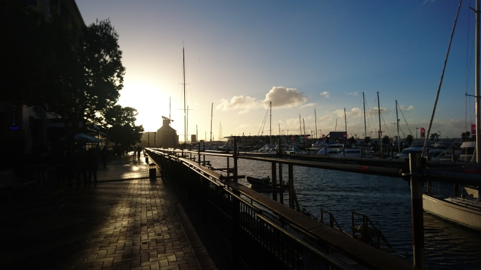 Sunset at Auckland harbour, New Zealand