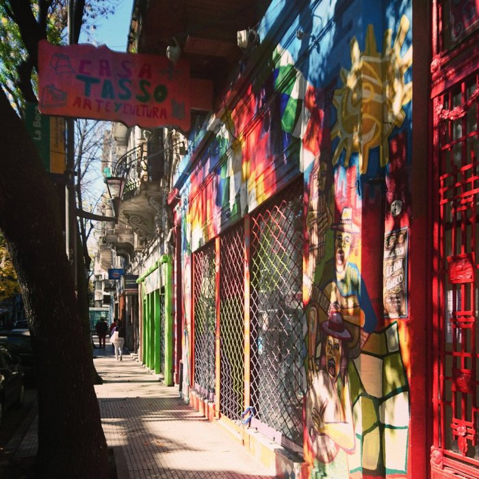 A colourful street in La Boca barrio, Buenos Aires