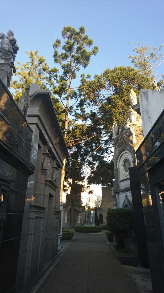 Grand mausoleums line the pathways in Recoleta Cemetary