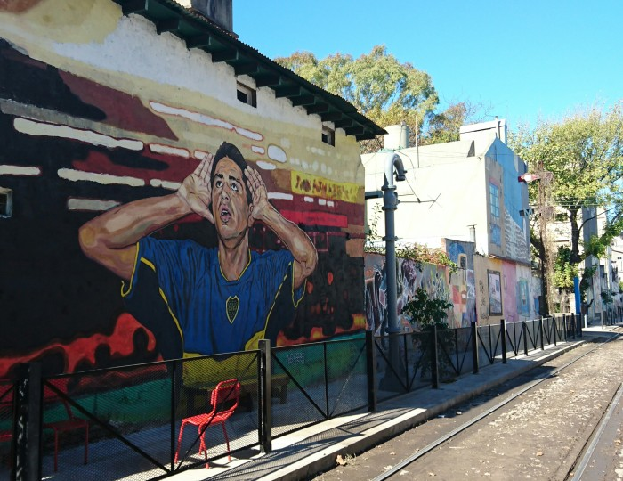 Graffiti image of a footballer in Buenos Aires
