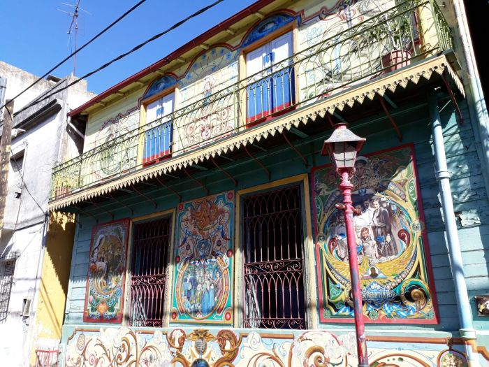 Building painted in intricate detail in La Boca barrio, Buenos Aires