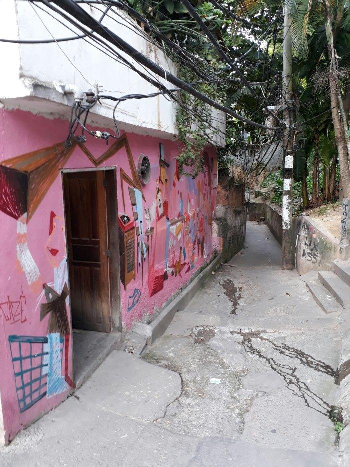Colourful street art in Vidigal favela, Rio de Janeiro