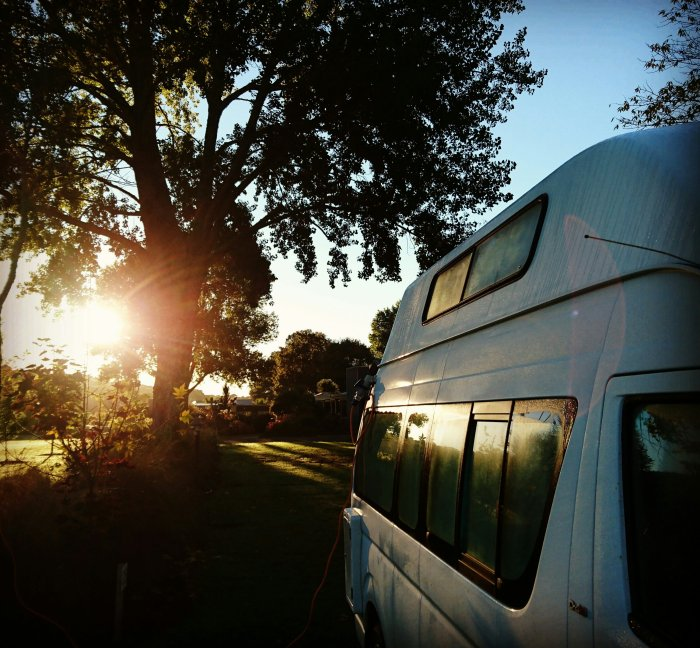 Sunrise over our campervan in New Zealand
