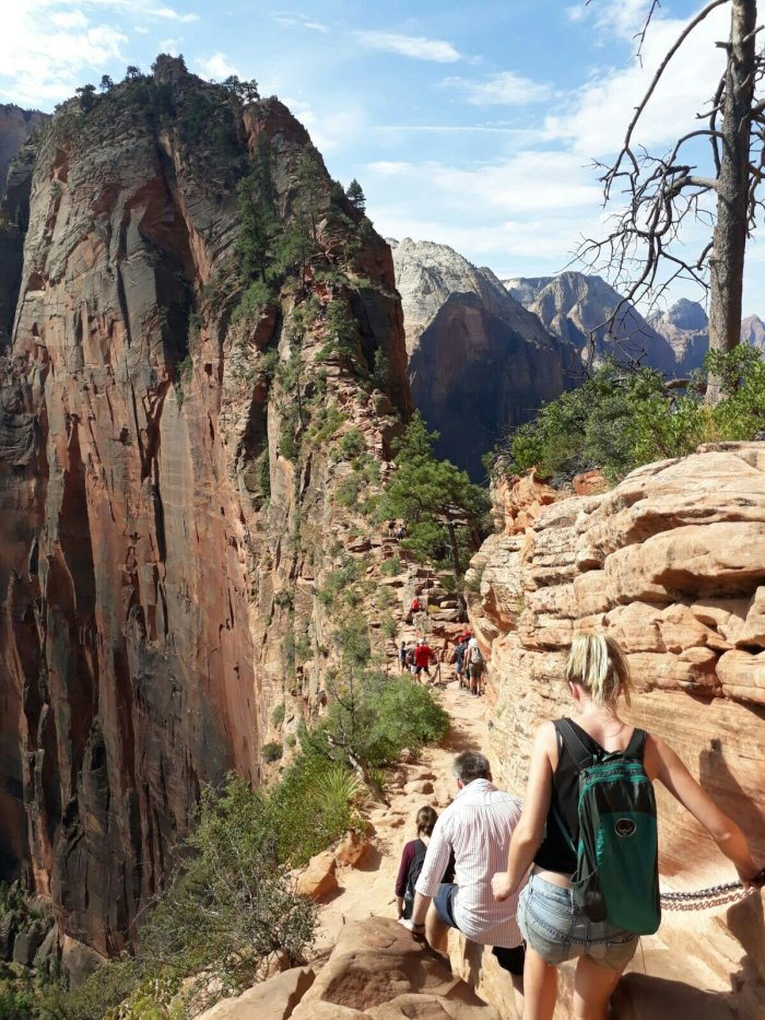 Walkers on Angels Landing Trail in Zion National Park, USA