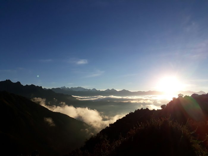 View of sunset above the clouds from our Inca Trail campsite, Peru