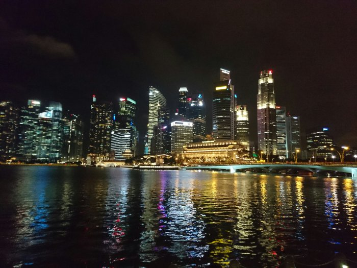 The city lights seen from Marina Bay, Singapore