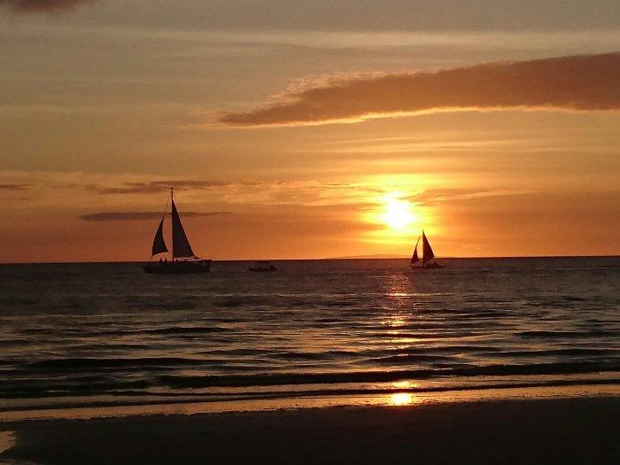 Sunset on White Beach, Boracay, the Philippines