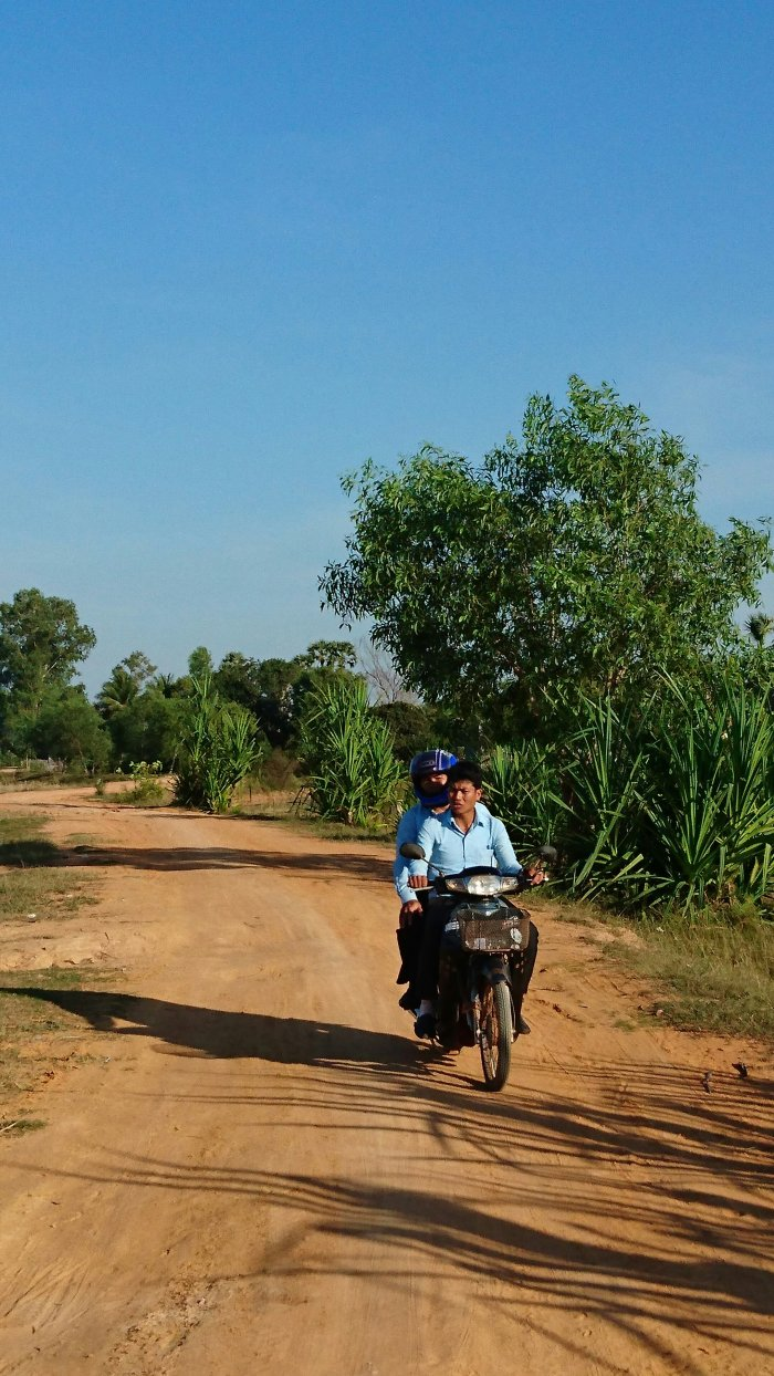 A motorcyclist in Siem Reap, Cambodia
