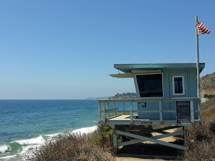 A lifeguard station on the beach in Malibu, Los Angeles