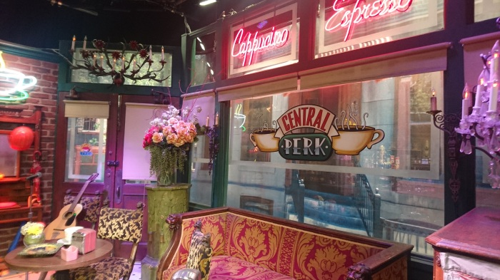 In Central Perk on the Friends set at Warner Brothers film studios in Los Angeles