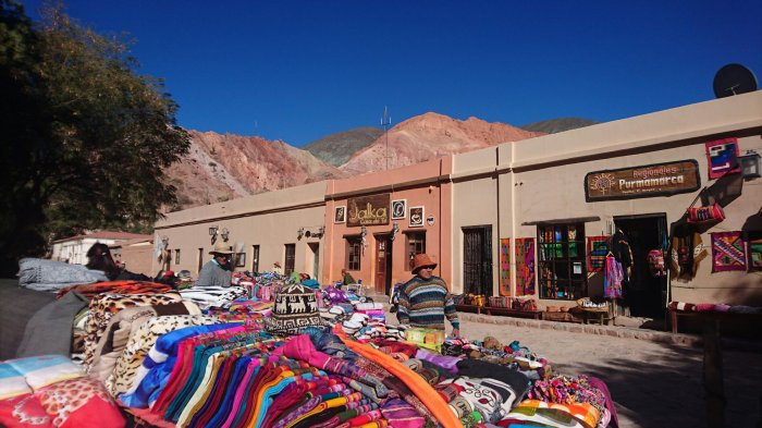 Colourful fabrics for sale in the indigenous village of Purmamarca