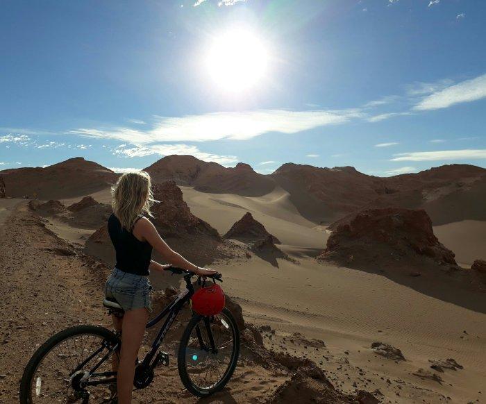 Cycling through the Valle de la Luna in the Atacama desert, Chile