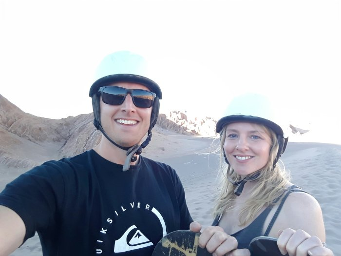 All kitted out in our sandboarding gear in Death Valley, Chile